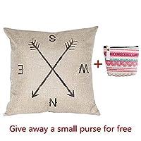 Iuhan Fashion Compass Linen Throw Pillow Case Cushion Cover Home Decor+Wallet