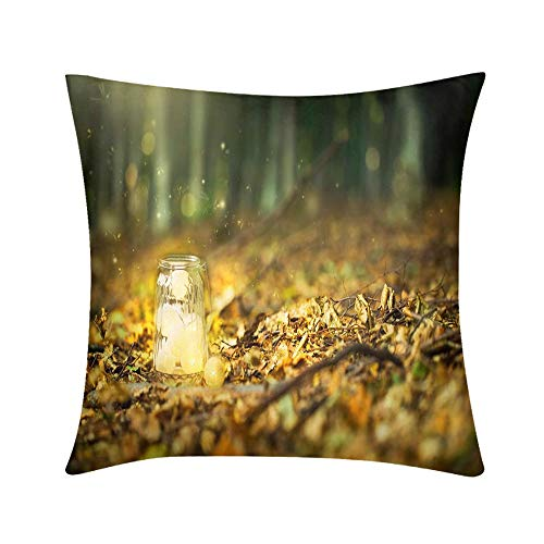 Double Sided Digital Printing Personalized Custom Throw Pillow Magic Fairy Forest with Fireflies and a Bright lamp Mysterious Lantern in a Surreal Design for Sofa Bedroom Office Car Decorate ()