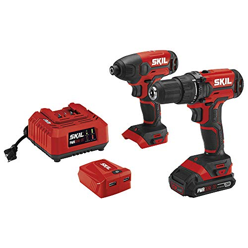 SKIL 2-Tool Combo Kit: 20V Cordless Drill Driver and Impact Driver, Includes 2.0Ah Lithium Battery, PWRAssist USB Charging Adapter and Charger – CB739101