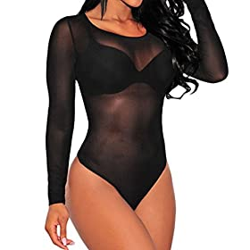 - 41c3rOCX7IL - SUBWELL Women's Sexy Sheer Mesh Leotard Long Sleeve Bodycon Stretch Bodysuit Jumpsuit Tops