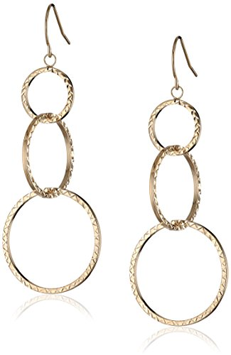 10k Yellow Gold Triple-Circle Diamond-Cut Earrings