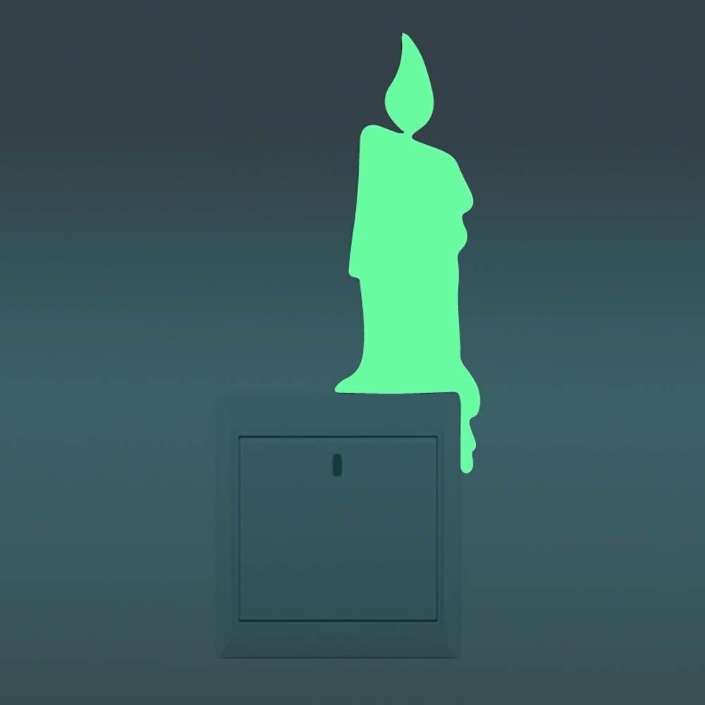?Décoration lumineuse mignon interrupteur sticker mural autocollant nuit fluorescentes bougie GGG