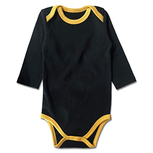 ROMPERINBOX Unisex Solid Baby Bodysuit 0-24 Months (Black Yellow Long Sleeve, 3-6 Months) ()