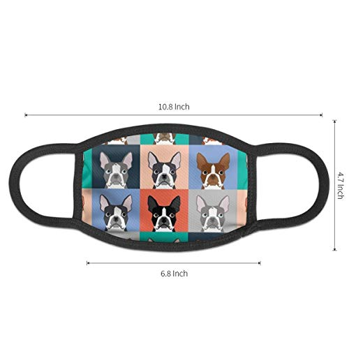 Women & Men Cool Earloop Half Face Mouth Mask Face Mask Dustproof Respirator - Comfort Windproof Cycling Mouth Mask for Kids Youth Boys Girls (Boston Terriers Tile Bulldog Dog Set Pattern)