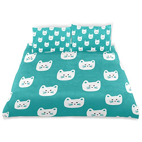 - OSBLI Bedding Duvet Cover Set 3 Pieces Cat Face Bed Sheets Sets and 2 Pillowcase for Teens