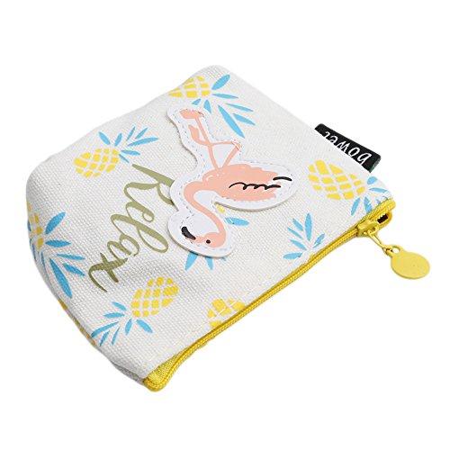 Gluckliy Frau Gilrs Flamingo Geldbörse Münze Geldbörse Leinwand Tasche Wochenende Münze Geldbörsen (Rosa) Gelbe Ananas fOxzIYiF