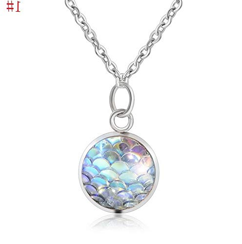 Hebel New Design Mermaid Scale Resin Charm Pendant Alloy Chain Necklace for Women | Model NCKLCS - 32298 ()