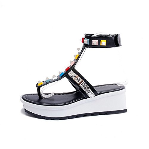 AmoonyFashion Womens Cow Leather Solid Hook-and-loop Split-Toe Kitten-Heels Sandals Black nZVHNpE