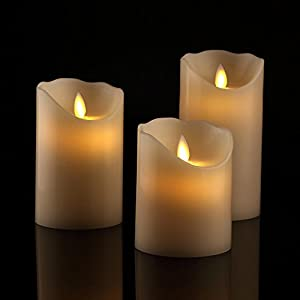 Antizer Flameless Candles 4″ 5″ 6″ Set of 3 Ivory Dripless Real Wax Pillars Include Realistic Dancing LED Flames and 10-Key Remote Control with 24-Hour Timer Function 400+ Hours by 2 AA Batteries