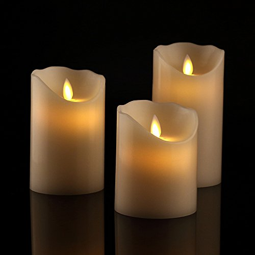 Flameless Candles 4' 5' 6' Set of 3 Ivory Dripless Real Wax Pillars Include Realistic Dancing LED Flames and 10-key Remote Control with 24-hour Timer Function-Antizer
