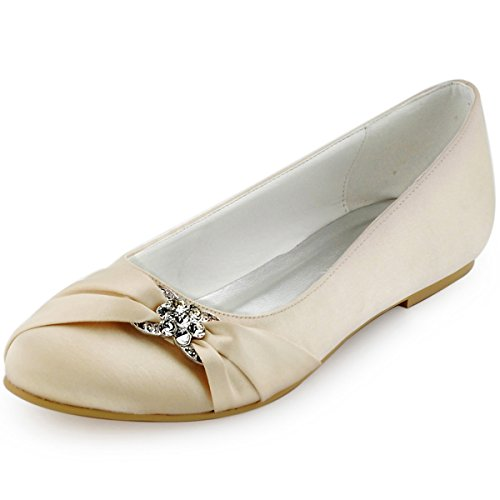 ElegantPark EP2006 Women Closed Rhinestones Comfort Flats Pleated Satin Wedding Bridal Shoes Champagne US 7 by ElegantPark