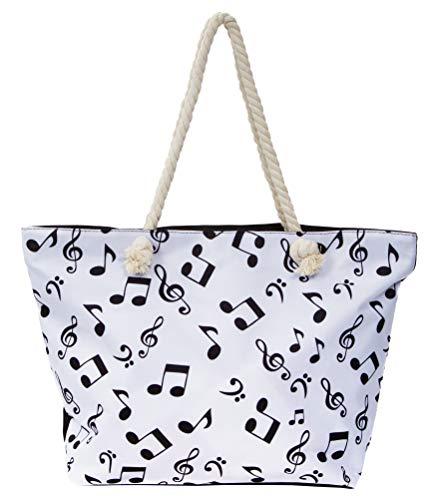 Leisureland Large Beach Tote Bag, Top Zipper Boat Bag (Music Notes) ()