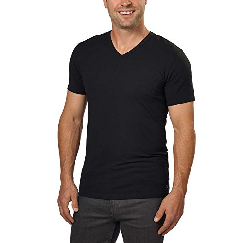Calvin Klein Cotton Stretch V-Neck, Classic Fit T-Shirt, Men's (3-pack) (White or Black) (Black, Large) ()