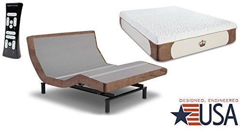 DynastyMattress and Leggett & Platt S-Cape 2.0 Adjustable Bed Base with 12-inch Gel Memory Foam Mattress
