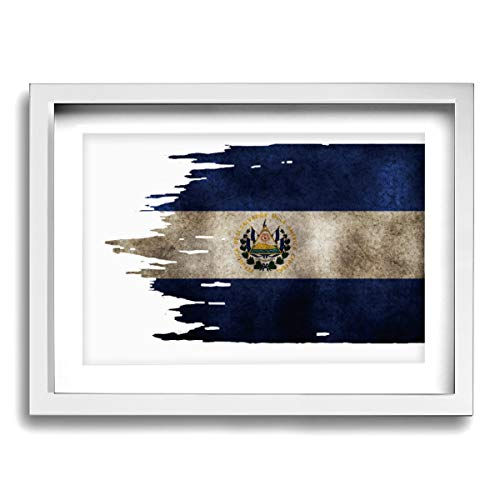 CLLSHOME 12x16 Inches Wall Decor Toilet Bathroom Framed Art Print Picture El Salvador Flag Graphic Wall Art for Home Decorations