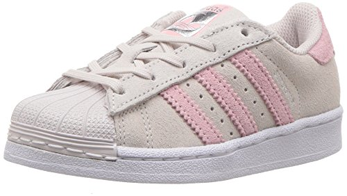 adidas Originals Girls' Superstar C Sneaker, Pearl Grey/Ice Pink/Ice Pink, 3 Medium US Little Kid by adidas Originals