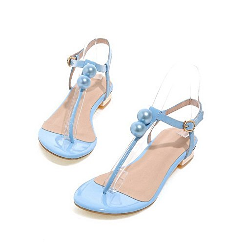 AmoonyFashion Womens Buckle Split Toe Low Heels Cow Leather Solid Sandals Blue rzCuI1r8Er