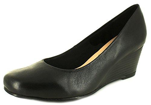 Comfort Plus NUEVO MUJER NEGRO MARGO Corte Ancho Zapatos De Salón Negro - GB Tallas 3-8