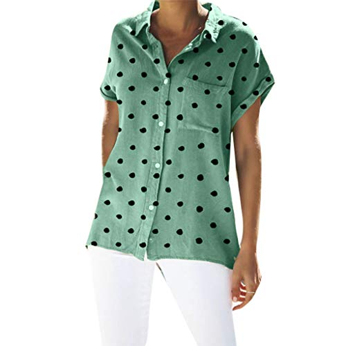 (Tantisy ♣↭♣ Women's Plus Size Polka Dot Blouse Lapel Neck Short Sleeve Henley Shirt Casual Comfy Ladies Button-Down Shirts Green)