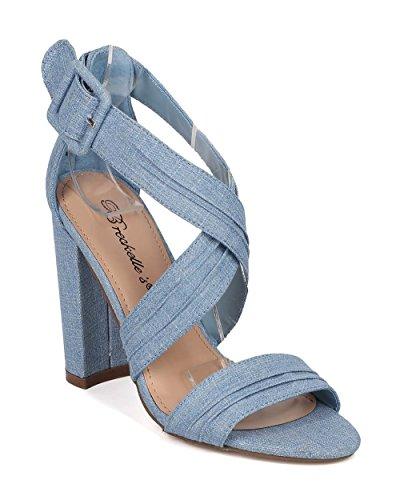 Breckelles Women Faux Suede Block Heel Sandal - Strappy Chunky Heel - Open Toe Pump - GI63 by Blue Denim