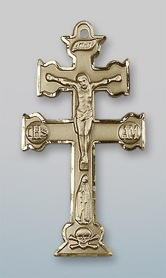 14kt Yellow Gold Caravaca Crucifix Medal 1 1/2 x 3/4 ()