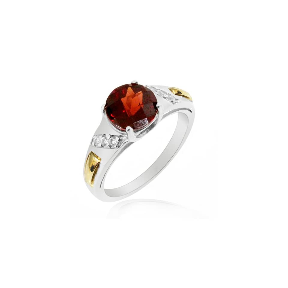 LenYa Special   Characteristic of you Birthday Rhodium Plated Silver Ring with Round Garnet, Round Cubic Zirconia, (Ring Size 7)