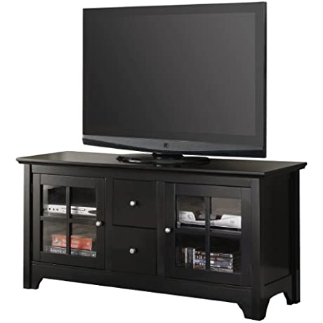 52 Solid Hard Wood TV Media Stand Console W Two Drawers Black