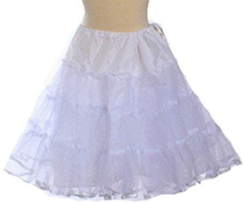Little Girls Bouncy Fluffy Petticoat Skirt Extra Fullness To Dress (91A4G) White L (Collection Tea Cotton Skirt)