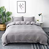 M&Meagle Duvet Cover Grey,Solid Color Button Design,100% Microfiber Treated by Washed Cotton Process,Feels Like a Very Soft Cotton-Queen Size(3Pcs,1 Duvet Cover 2 Pillowcases)