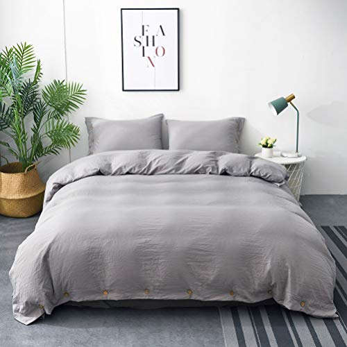 (M&Meagle Duvet Cover Grey,Solid Color Button Design,100% Microfiber Treated by Washed Cotton Process,Feels Like a Very Soft Cotton-Queen Size(3Pcs,1 Duvet Cover 2 Pillowcases))