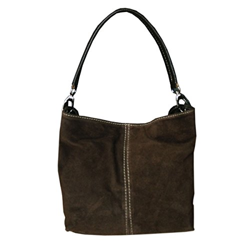 Italian Small Bag Suede Tote Real Mini Shoulder Ladies Handbag Coffee Leather HBAw5Px