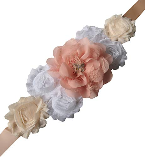 Flowers maternity sash wedding sashes romantic flowers sashes (Blush and white)