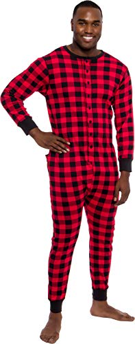 One Piece Union Suit - Ross Michaels Mens Buffalo Plaid One Piece Pajamas - Adult Union Suit Pajamas with Drop Seat (Red/Black, Small)
