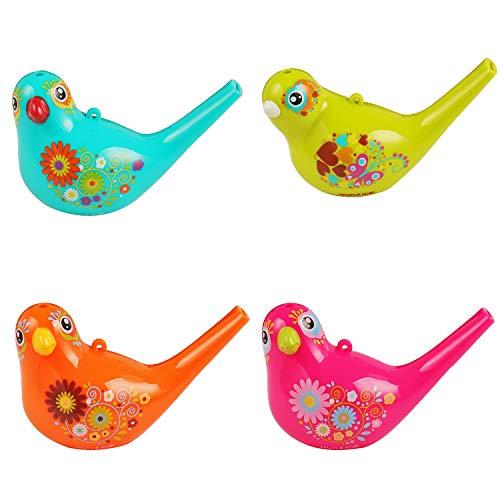 SOTOGO 4 Pack Bird Whistle Colorful Bird Toys Bath Toys for Bath, Party, Birthday Gift, 4 -