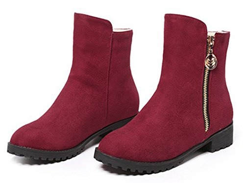Booties Low SHOWHOW Casual Women's Ankle Zip Red Faux Up Suede Heel aYOzaR