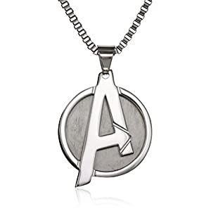 "Marvel Comics Unisex ""A"" Logo Avengers Stainless Steel Chain Pendant Necklace, 24″"