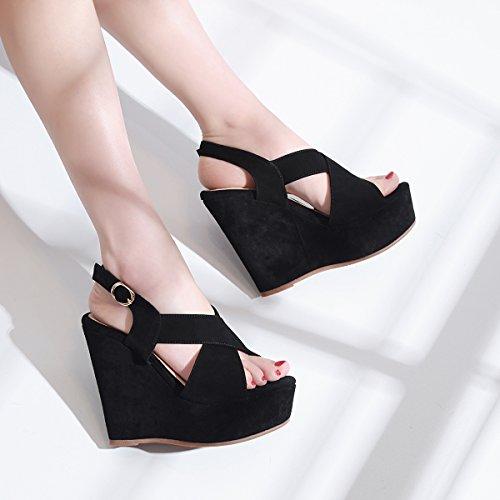 37 AJUNR nero 12cm scarpe tacco tabella di Moda fibbia Donna Alla Da 35 pendenza pesce bocca alto Sandali impermeabile Scarpe tacco xrHFx1qwg