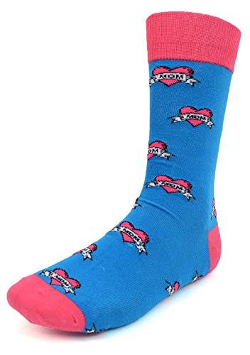 Men's Fun Crew Socks, Sock Size 10-13/Shoe Size 6-12.5, Great NEW Styles, Great Holiday/Birthday (Love Mom Blue) -
