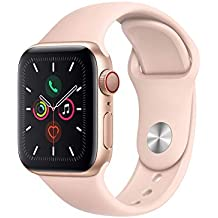 Apple Watch Series 5 (GPS + Cellular, 40MM) - Gold Aluminum Case with Pink Sand Sport Band (Renewed)