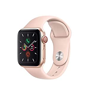 (Refurbished) Apple Watch Series 5 (GPS + Cellular, 40MM) – Gold Aluminum Case with Pink Sand Sport Band