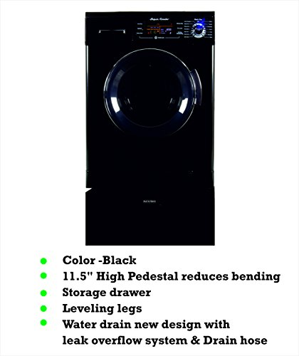 All In One Equator EZ 4400 CV Black Compact Combo Washer Dryer with Pedestal Storage Drawer