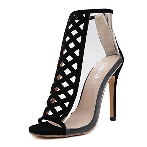 L@YC Women'S High Heels Hollow Transparent High-Heeled 12cm Dance Party Open-Toed Sandals Black