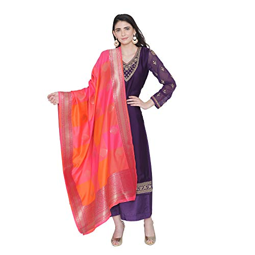 PINKSHINK Women's Readymade Purple Satin Indian/Pakistani Salwar Kameez with Banarasi Dupatta (Best Salwar Suits For Women)