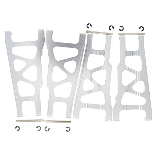 4-Pack Hobbypark Front / Rear Aluminum Suspension Arm A-Arms Sliver For Traxxas 1/10 Slash 4x4 Option Parts Hop Up Replacement