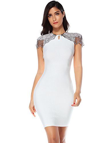 Meilun Womens Beads Embellished Cup Sleeves Patchwork Celebrity Bandage Dress (White, S)