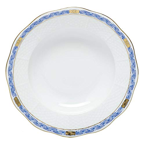 (Herend Chinese Bouquet Garland Blue Porcelain Rim Soup Plate)