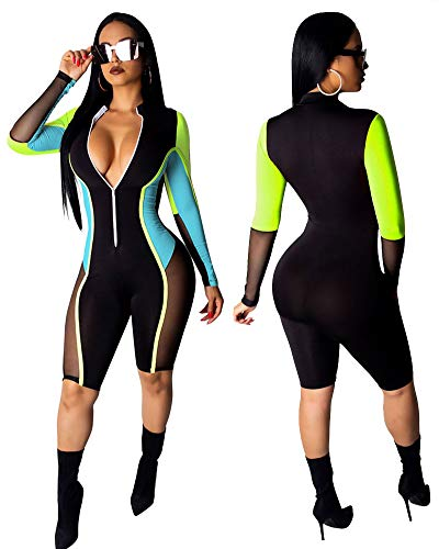 Best Party Outfits 2019 (Ekaliy Women Sexy Bodycon Short Jumpsuits - Mesh Rompers Long Sleeve Club Outfits Front Zip Blue)