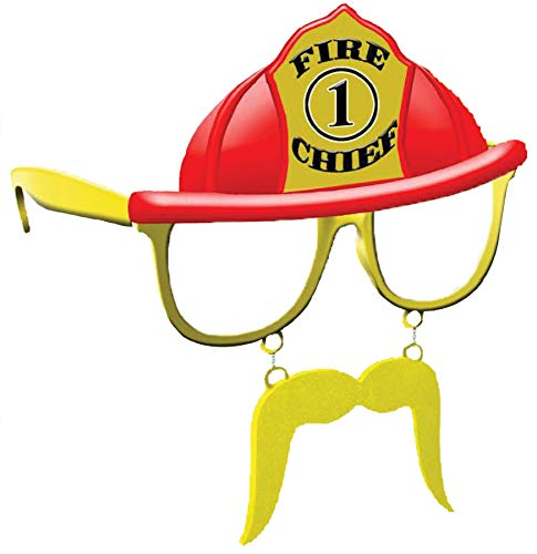 Morris-Costumes Fire Chief Sunstache Comical Theme Party Halloween Accessory Yellow/Red