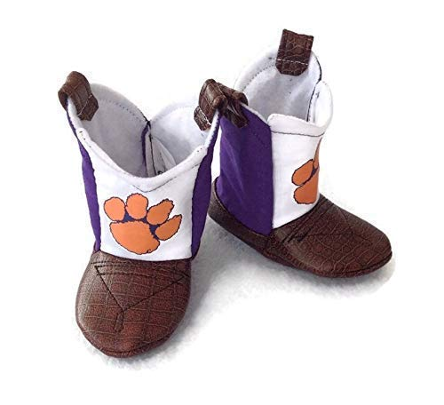 Sports Baby Shoes Clemson Tigers Baby Cowboy Boots with Leather