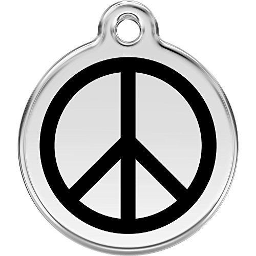 Red Dingo Personalized Peace Pet ID Dog Tag (Small Black)